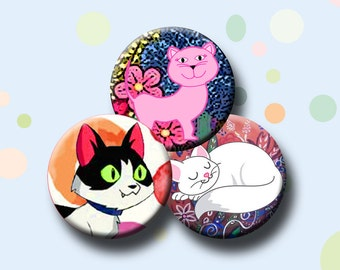 """CUTE CATS  Digital Collage Sheet 1.629 inch round images for 1.25"""" buttons and button magnets.  Instant Download #184."""