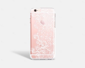 iPhone SE Case Clear White Lace iPhone 6s Plus Case TPU iPhone 6 Plus Clear Lace iPhone Case iPhone 6 Case Wedding iPhone Case Samsung S6