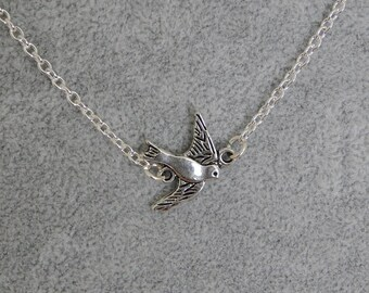 Silver Dove Necklace, Tiny Dove Pendant, Flying Bird Necklace, Swallow Necklace, Dainty Bird Necklace