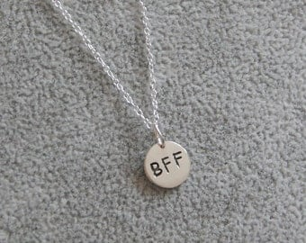 BFF Charm Pendant, Best Friends Forever Necklace, Friends Gift, Friends Necklace, Sterling Silver Best Friends Tag Necklace,