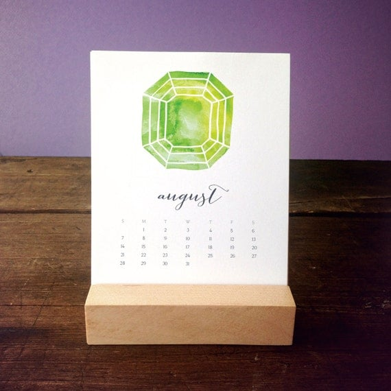 Calendar Wood Stand : Desk calendar with wood stand birthstone by favoritestory