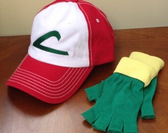 Adult TWiLL  Pokemon Trainer Costume Set -- ASH KETCHUM  Cosplay  - Hat & Gloves