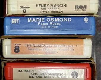 16 Vintage 8 Track Country Tapes and 2 Holders With Lids