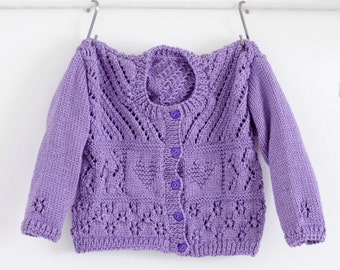 Purple Baby Sweater, Girls Sweater, Girls Coat, Knit Cardigan, Childs Sweater, Hand Knit, Knitted Sweater, Eyelet Sweater, Little Girl gift
