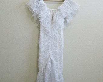 White Wiggle Wedding Dress Lace Mermaid Medium