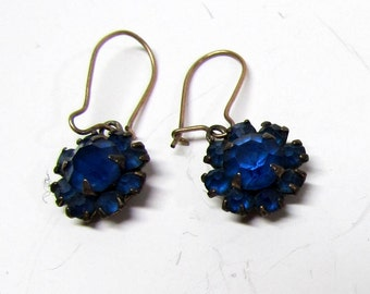 Vintage Pair of Earrings, Metal with Blue Rhinestones - Costume Jewelry - Collectible Jewelry