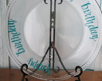 Birthday Cake Platter; Happy Birthday Platter; Birthday Cake Plate