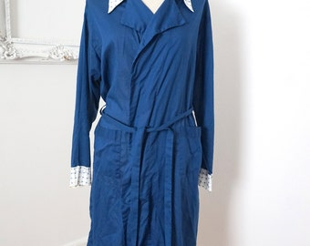 Vintage Thin Light Dark Blue Robe with White Cuffs and Collar