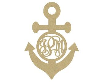 Three Letter Monogram Anchor | Wooden Anchor Monogram | Nautical Nursery | Wooden Initials
