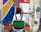 Canvas backpack / back to school bag / urban book bag / green vinyl and canvas / chic yet durable / fresh & standout design