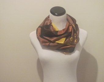 Silk Scarf. Yellow Scarf .Abstract Silk Scarf.Silk Scarves.Aprox 12 x 56 inches