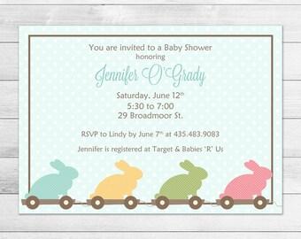 Blue Bunny Printable Baby Shower Invitation