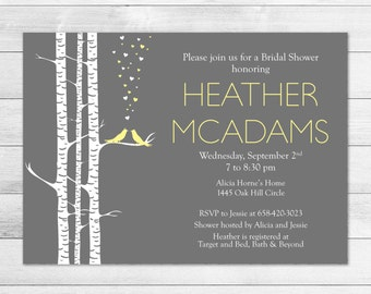 Love Birds Bridal Shower Invitation Yellow & Gray