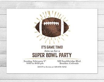Super Bowl Party Invitation, Football, Sports Digital Invite File, Watercolor, Gold