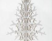 White cardboard laser cut Christmas tree, Holiday decoration 132 cm / 4.3'
