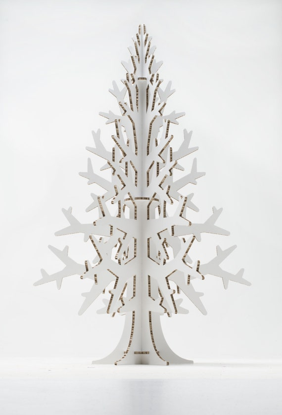 White cardboard laser cut Christmas tree, Holiday decoration 132 cm / 4.3'
