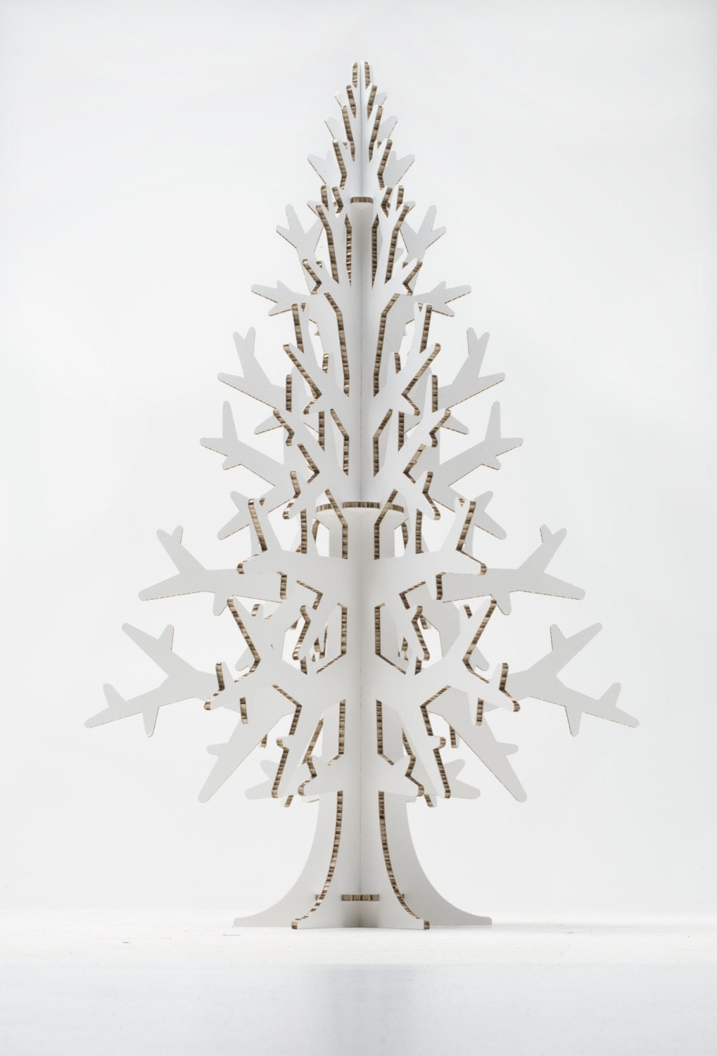 White Cardboard Laser Cut Christmas Tree Holiday Decoration