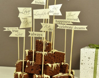 large cake flags personalised wedding sentiment flags