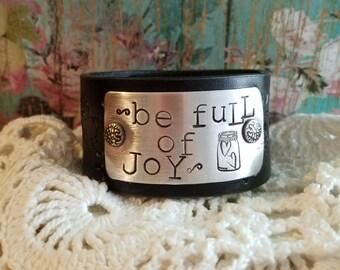 Be FuLL of JoY Hand Stamped Leather Cuff Bracelet> #FloralLeather #Inspirational #Hearts #BohoChic #RusticCharm #BeFullOfJoy #MasonJar