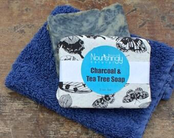 Charcoal Soap, Organic Vegan Soap, Activated Charcoal Bath, Charcoal Detox Soap, Body Acne Soap, Natural Tea Tree Essetial Oil Bar Soap