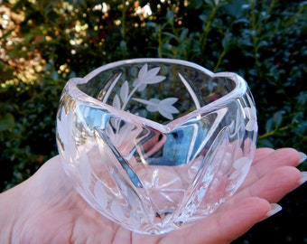 Vintage Cut Crystal Bowl, Crystal Votive Candle Holder, Small Round Cut Etched Crystal Bowl, Lead Crystal Vase, Wedding Gift Housewarming