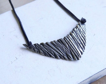Antimony Necklace Handmade Black Suede Long Raw
