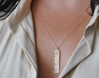 Long mesh bar necklace | Long layering necklace, Long necklace, Gift for her, Dainty necklace, Long and layered, Modern jewelry