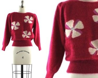 hot pink mohair sweater / vintage 80s flowered sweater / sequined sweater S/M