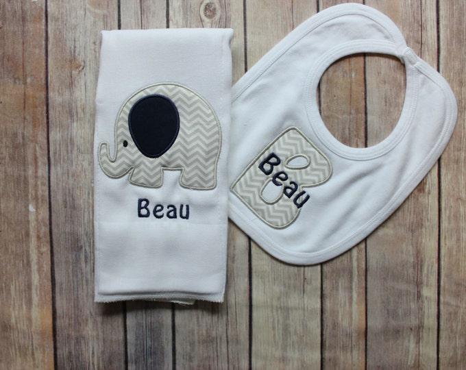 Elephant Burp Cloth Set - Monogrammed Elephant Burp Cloth Initial Bib, Chevron Elephant Baby Gift, Baby Boy Gift, Personalized Baby Boy Gift