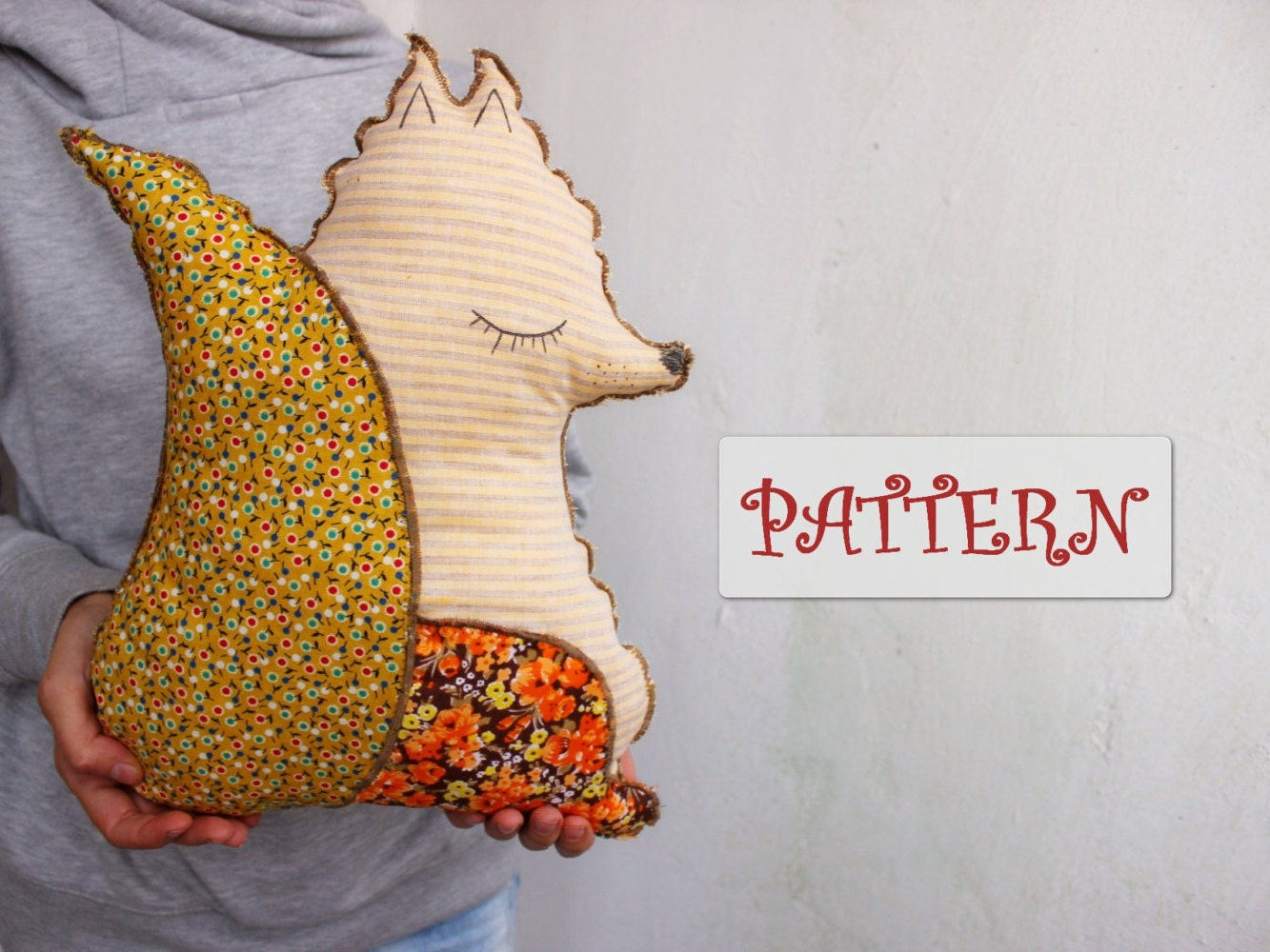 Free Stuffed Animal Pillow Patterns : PATTERN for sleepy fox pillow quilted stuffed animal diy foxie