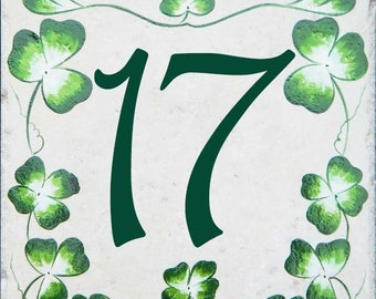 Small Irish Shamrock house number plaque