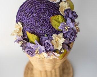 Straw mini hat · flowers millinery headpiece · wedding guest fascinator· bridal flowers · Purple