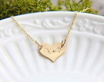 Heart Necklace, Gold Heart Necklace, Initial Heart Necklace, Personalized Heart Necklace, Custom Necklace, Gold Heart Monogram Necklace