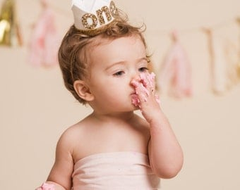 First Birthday Outfit Girl || Birthday Crown Headband ||  First Birthday Crown || First Birthday Cake Smash