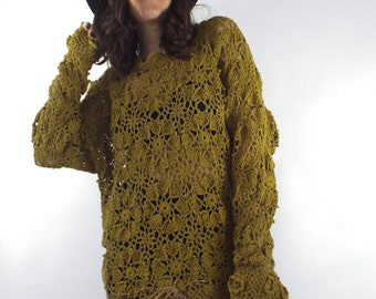Vintage 90s Sheer Mustard Yellow Crochet Dress