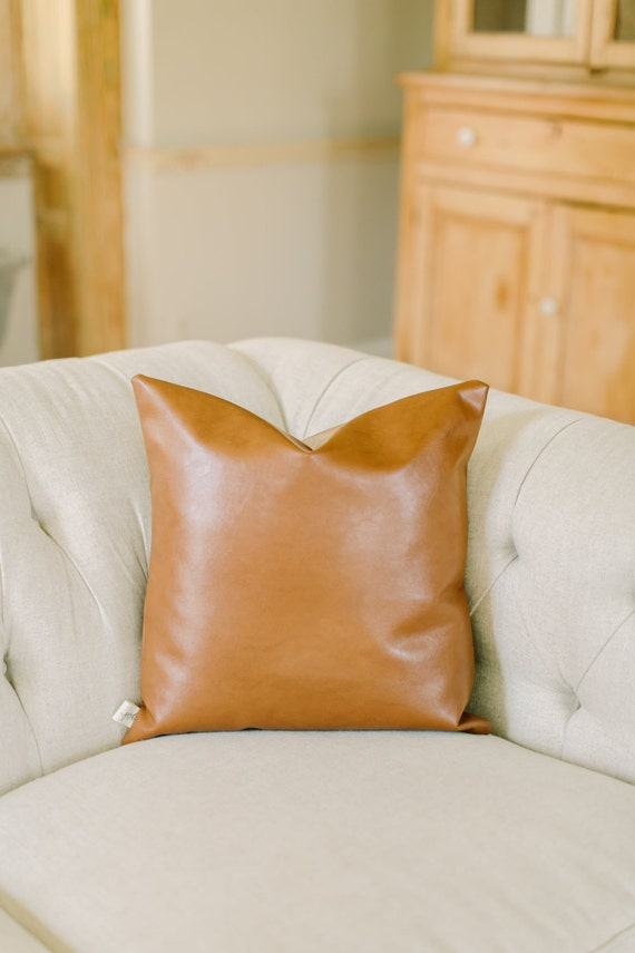 Throw Pillows Faux Leather : Accent Throw Pillow 18x18 Faux Leather tan leather by PCBHome
