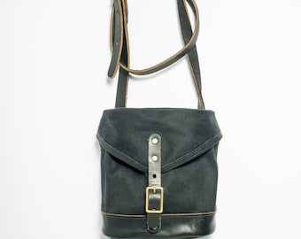 Musette Bag - Black Waxed Canvas and Horween Chromexcel with Solid Brass Hardware