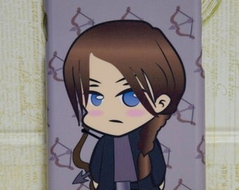 "Iphone 4/5/5c/6/6+ Samsung S3/S4/S5/S6/S6edge/S3&S4 mini, ""Chibi Katniss"", Inspired Hunger Games Phone Case Everthorne Everlark"
