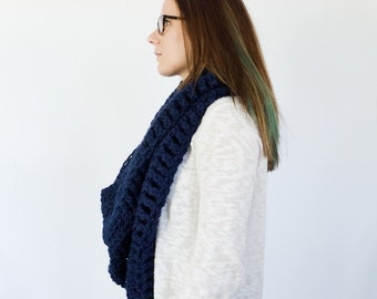 XXL oversized crochet cowl, scarf, & headwrap    the OSAGE    shown in navy