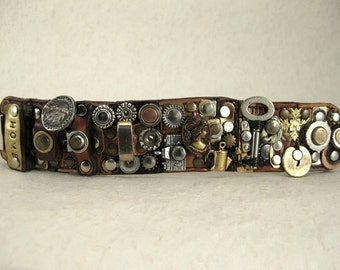 "342 ""Attic With Antiques"" Steampunk Burning Man Assemblage Palimpsest Bracelet Recycled Jewelry Industrial Machine Age"