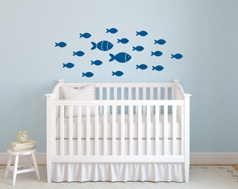 School Of Fish Wall Decal   Peel And Stick Decals   Fish Wall Decor    Nautical