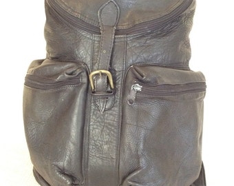 Genuine vintage black leather backpack rucksack front flap