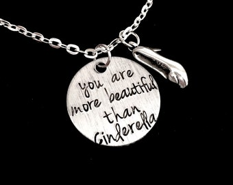 Bridesmaids Inspired You Are More Beautiful Than Cinderella Charm Necklace