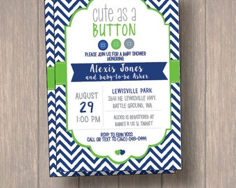 baby shower invitation cute as a button baby shower invitation baby shower navy