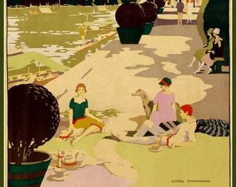 Art Print London Underground, Upriver 1920s,  Poster Print 8 x 10