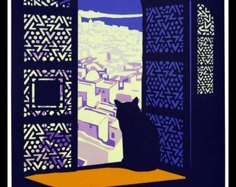 Art Print Morocco Casablanca Cat Travel Poster - Print 8 x 10