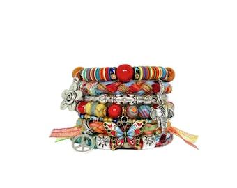Red Ganesh Bracelet Stack Multicolor Butterfly Bracelet Colorful Elephant Bangles Hindu Jewelry Ganesha Bangles