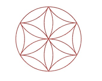 Machine Embroidery Design Instant Download - Flower Of Life Rosette 1 Sacred Geometry Quilting Redwork