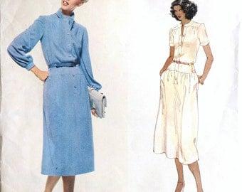 Vogue Paris Original Pierre Balmain day dress, long sleeve, vintage sewing pattern, 1931, bust 36 inches, waist 28 inches