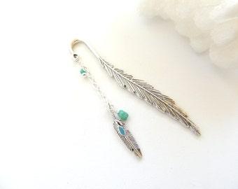Boho Tribal Feather Bookmark, Turquoise Feather Bookmark, Metal Bookmark, Beaded Bookmark, Books and Zines, Turquoise Bookmark. B297